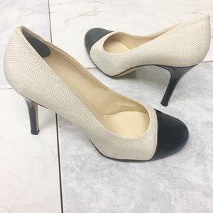KATE SPADE New York Heels Ivory Black Leather
